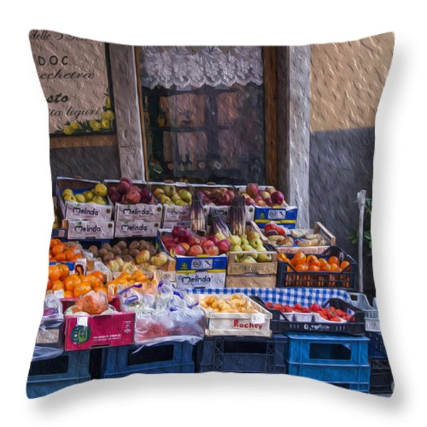 Vegetable Stand Italy Throw Pillow by Patricia Hofmeester