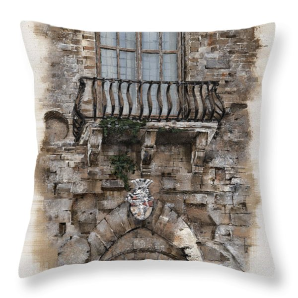 Venetian balcony 02 Elena Yakubovich Throw Pillow by Elena Yakubovich