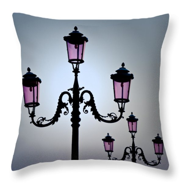 Venetian Lamps Throw Pillow by Dave Bowman