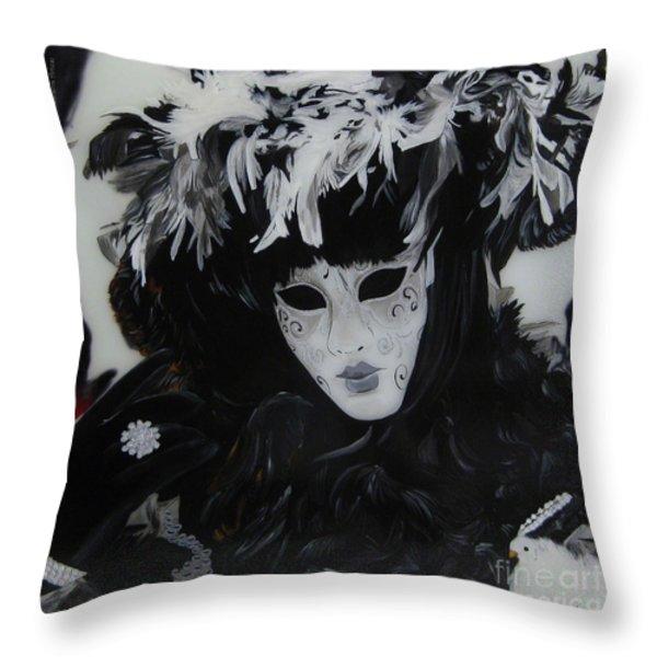 Venetian Mask Throw Pillow by Betta Artusi