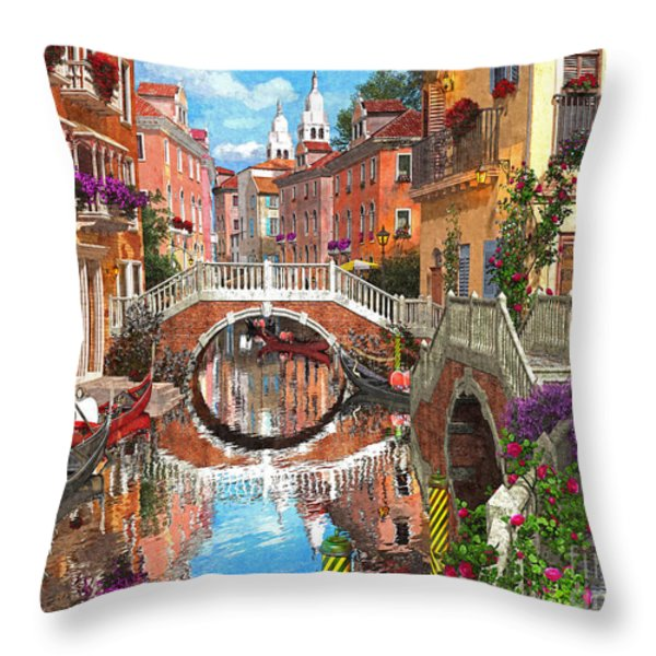 Venetian Waterway Throw Pillow by Dominic Davison