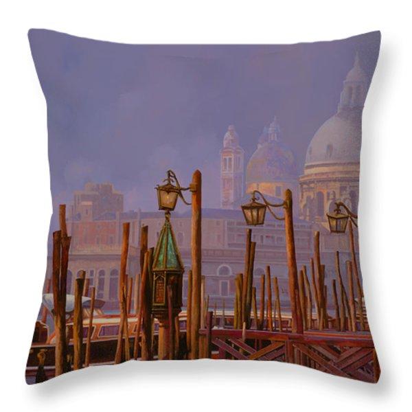 venezia e la nebbia Throw Pillow by Guido Borelli