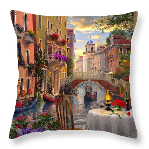 Venice Al fresco Throw Pillow by Dominic Davison