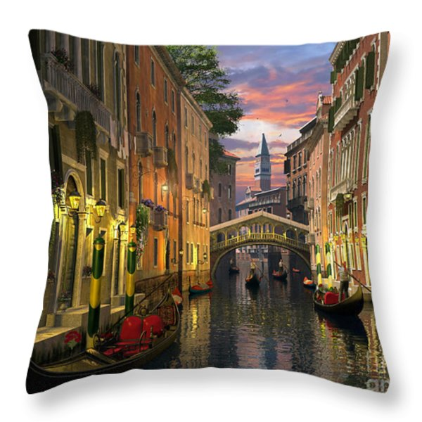 Venice At Dusk Throw Pillow by Dominic Davison