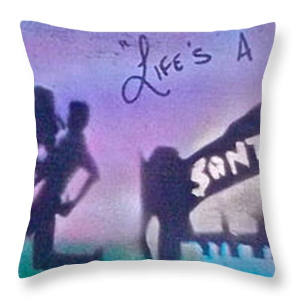 Venice Beach To Santa Monica  Purple Throw Pillow by Tony B Conscious