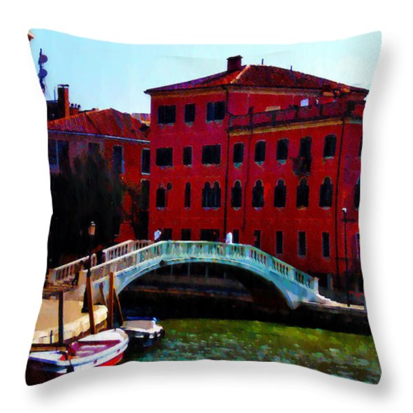Venice Bow Bridge Throw Pillow by Bill and Pat Cannon