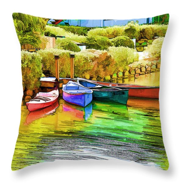 Venice Canoes Throw Pillow by Chuck Staley