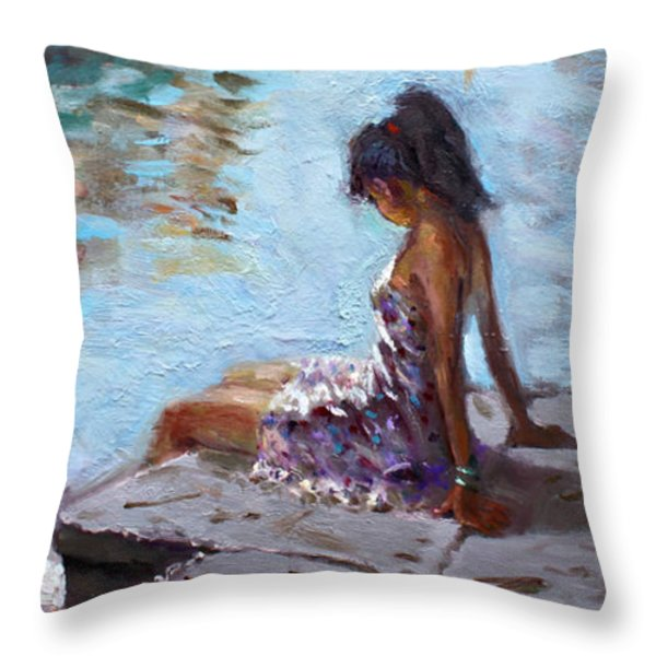 Venice Reflections Throw Pillow by Ylli Haruni