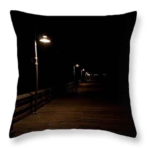 Ventura Pier At Night Throw Pillow by John Daly
