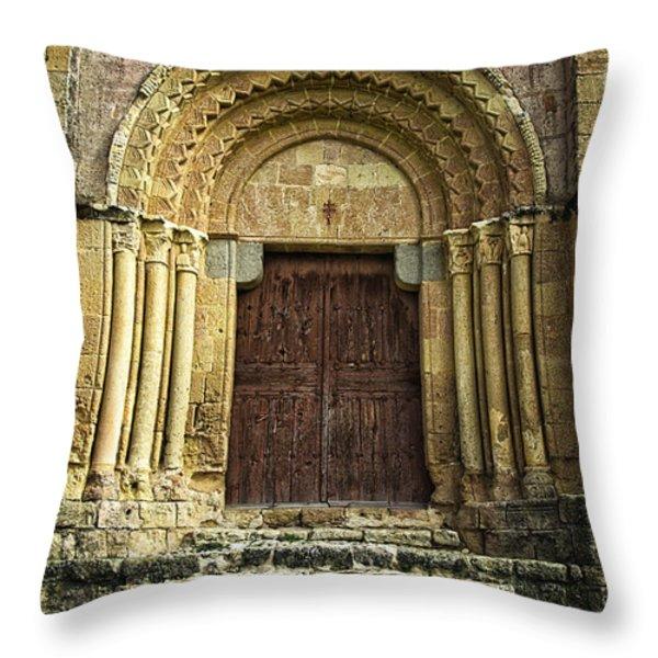 Vera Cruz Door Throw Pillow by Joan Carroll
