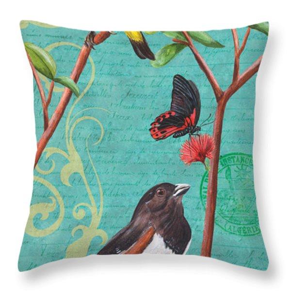 Verdigris Songbirds 2 Throw Pillow by Debbie DeWitt