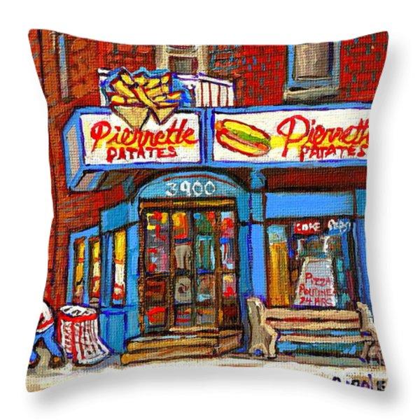 Verdun Famous Restaurant Pierrette Patates - Street Hockey Game At 3900 Rue Verdun - Carole Spandau Throw Pillow by Carole Spandau