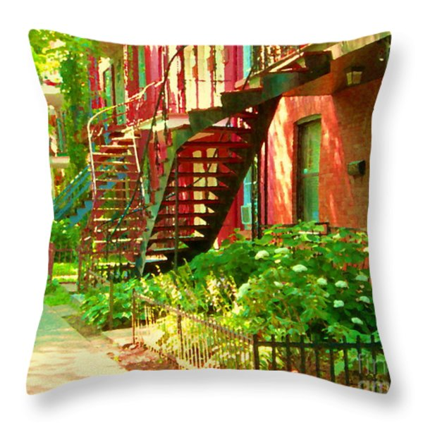 Verdun Stairs Winding Staircases And Fenced Flower Garden Montreal Summer Scene Carole Spandau Throw Pillow by Carole Spandau