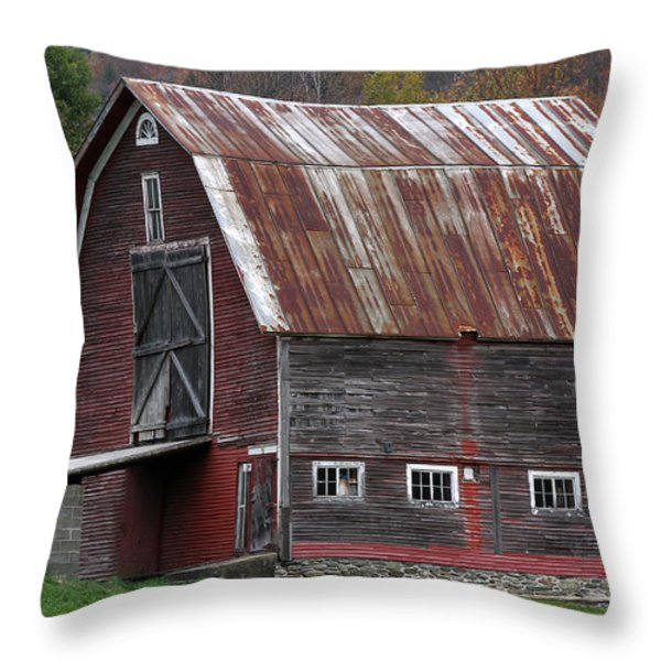 Vermont Barn Art Throw Pillow by Juergen Roth