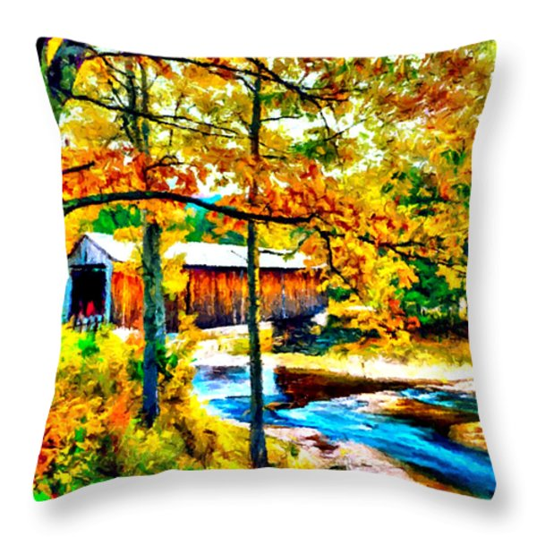 Vermont Covered Bridge Throw Pillow by Bob and Nadine Johnston