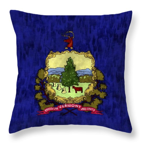 Vermont Flag Throw Pillow by World Art Prints And Designs