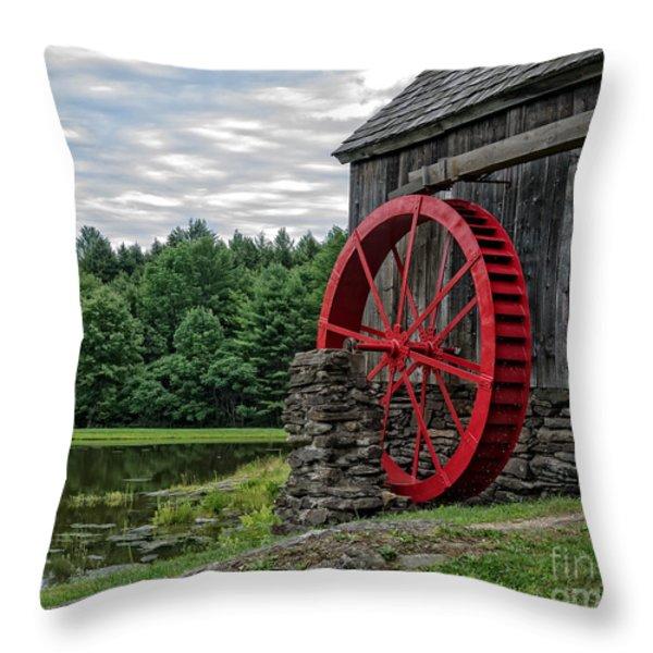 Vermont Grist Mill Throw Pillow by Edward Fielding