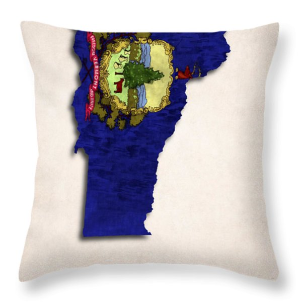 Vermont Map Art with Flag Design Throw Pillow by World Art Prints And Designs
