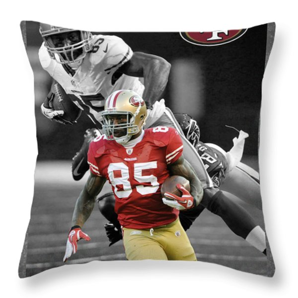 Vernon Davis 49ers Throw Pillow by Joe Hamilton
