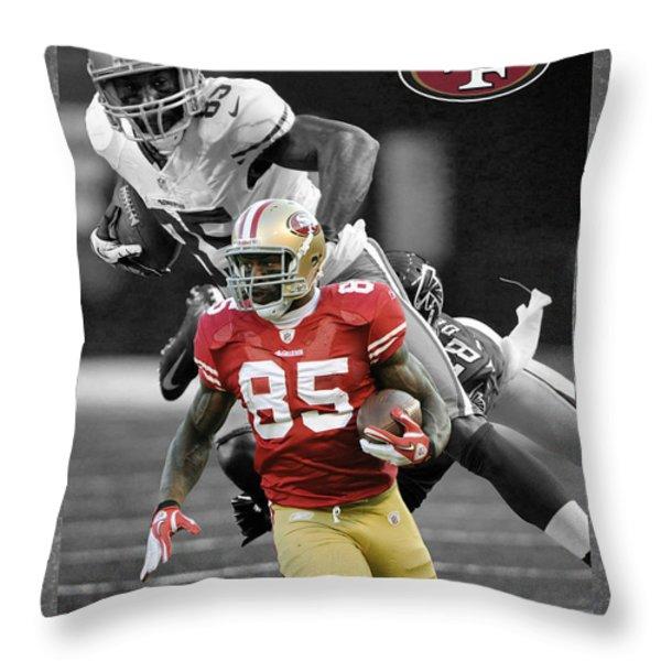 VERNON DAVIS 49ERS Throw Pillow by Joe Hamilton