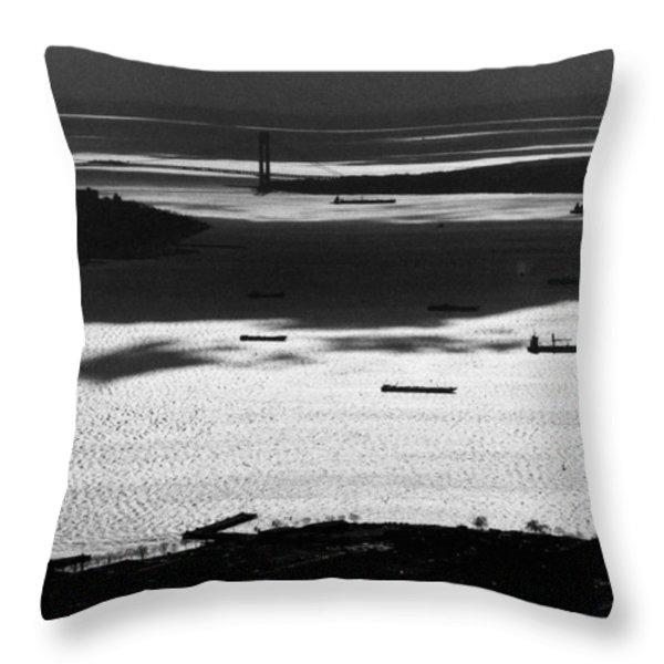 Verrazano Narrows From The World Trade Centre Throw Pillow by Gary Eason