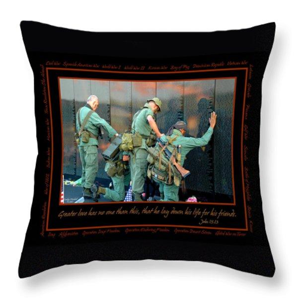 Veterans at Vietnam Wall Throw Pillow by Carolyn Marshall