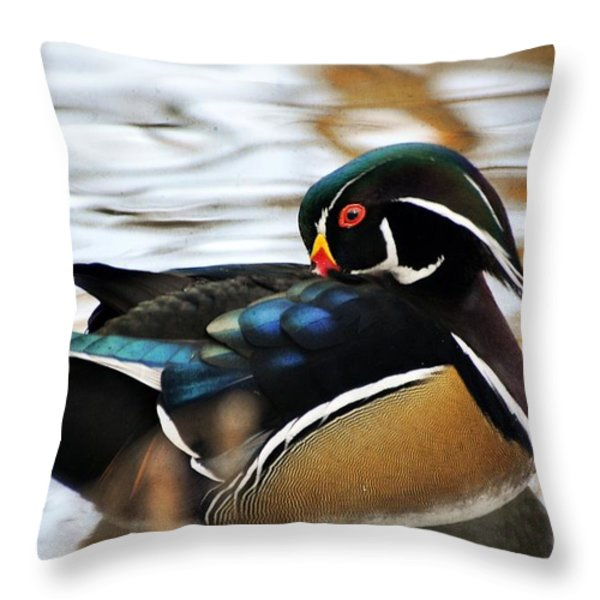 Vibrant Duclk Throw Pillow by Marty Koch