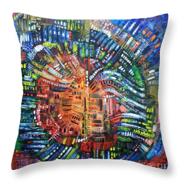 Vibration Throw Pillow by Michael Kulick