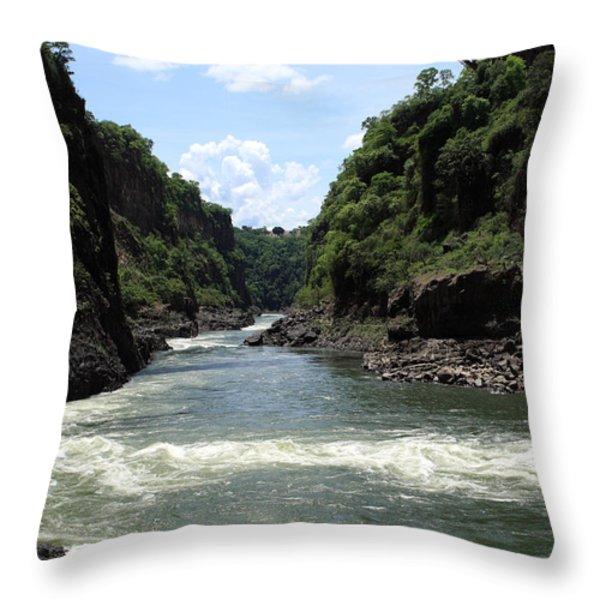 Victoria Falls Bridge - Zambia Throw Pillow by Aidan Moran