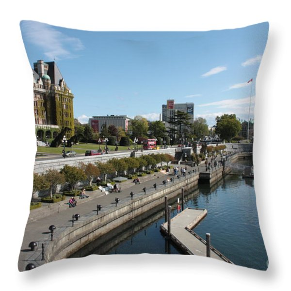 Victoria Harbour With Empress Hotel Throw Pillow by Carol Groenen