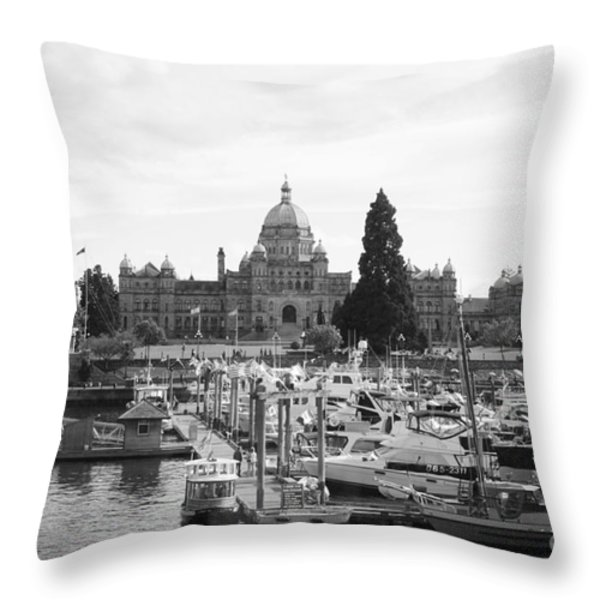 Victoria Harbour With Parliament Buildings - Black And White Throw Pillow by Carol Groenen
