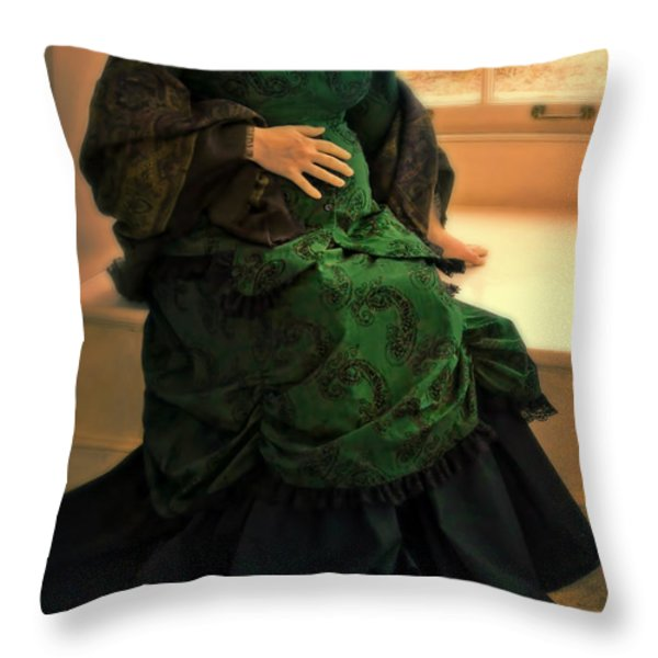 Victorian Lady Expecting A Baby Throw Pillow by Jill Battaglia