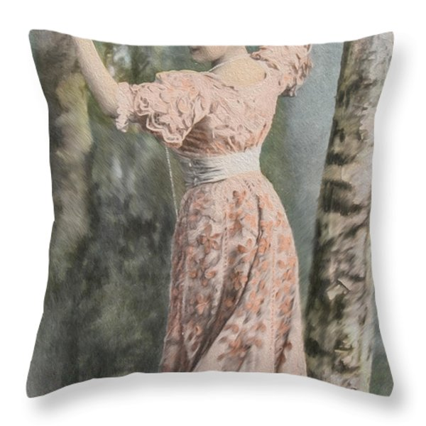 Victorian Lady In Beautiful Dress Throw Pillow by Patricia Hofmeester