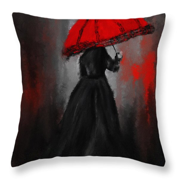 Victorian Lady With Parasol Throw Pillow by Lourry Legarde