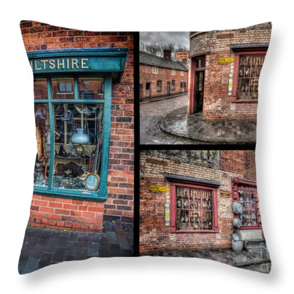 Victorian Shops Throw Pillow by Adrian Evans