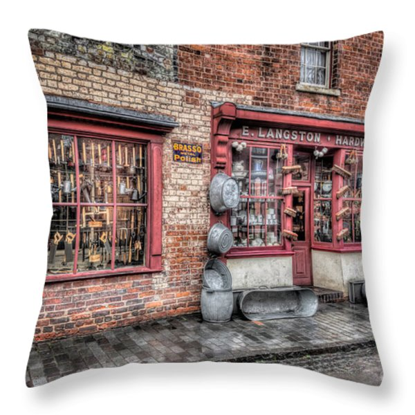 Victorian Stores England Throw Pillow by Adrian Evans