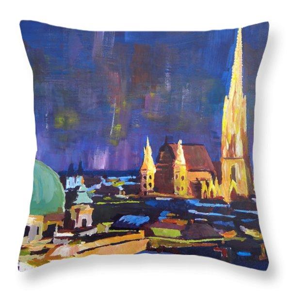 Vienna At Night Throw Pillow by M Bleichner