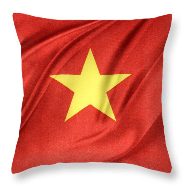 Vietnamese Flag Throw Pillow by Les Cunliffe