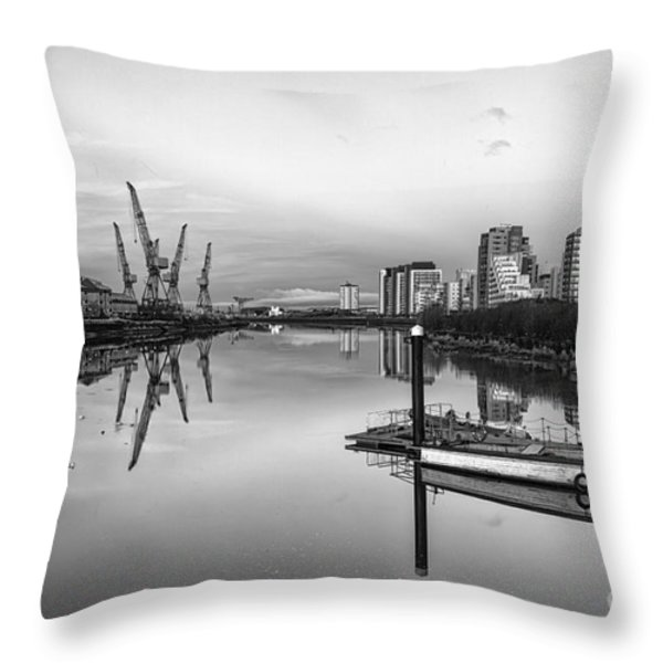 View Down The Clyde Mono Throw Pillow by John Farnan