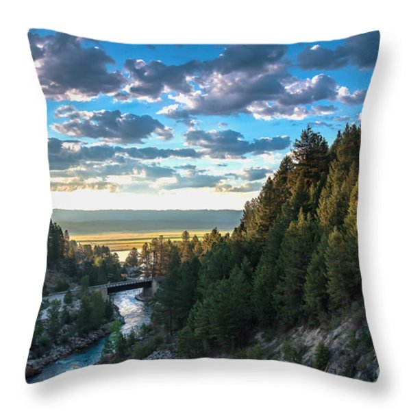 View From Cascade Dam Of The North Fork Of The Payette River Throw Pillow by Robert Bales