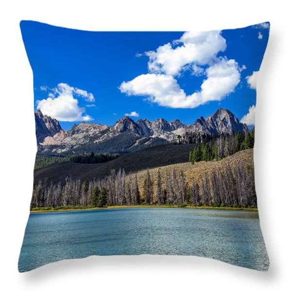 View From Little Redfish Lake Throw Pillow by Robert Bales