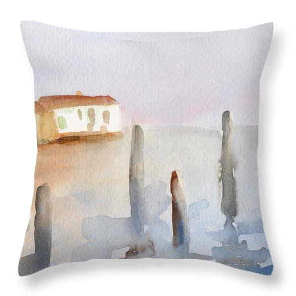 View From Murano Watercolor Painting Of Venice Throw Pillow by Beverly Brown Prints