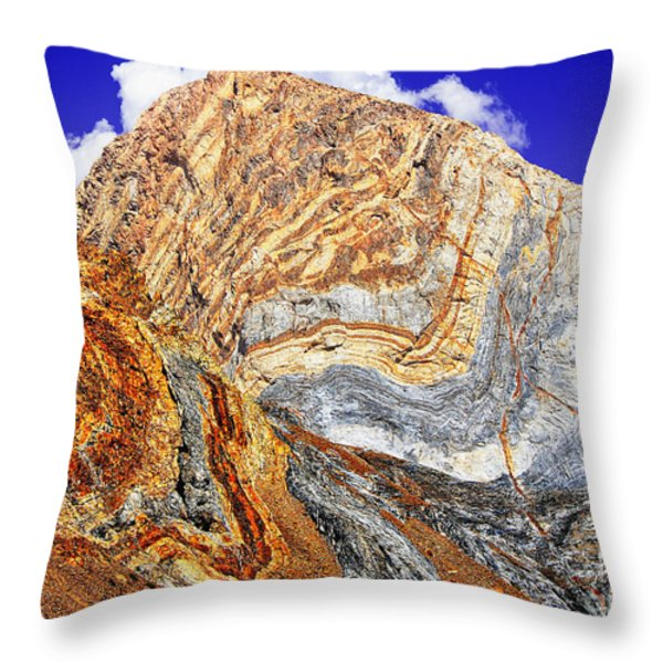 View Of Cliffs From Convict Lake Throw Pillow by  Bob and Nadine Johnston
