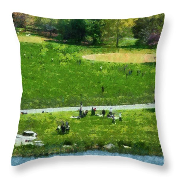 View Of Great Lawn In Central Park Throw Pillow by George Atsametakis