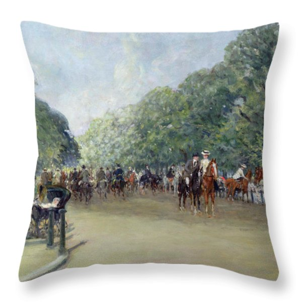 View Of Hyde Park With Figures On Rotten Row  Throw Pillow by Albert Jnr Ludovici