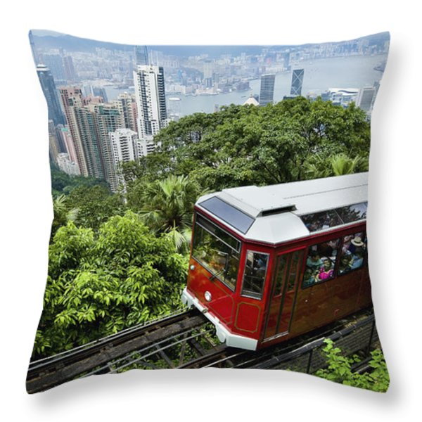 View Of Peak Tram Arriving At The Top Throw Pillow by Axiom Photographic
