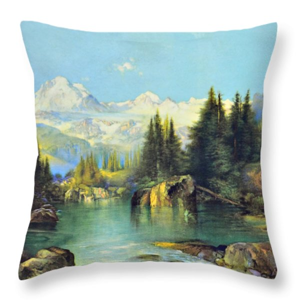View of the Rocky Mountains Throw Pillow by Susan Leggett