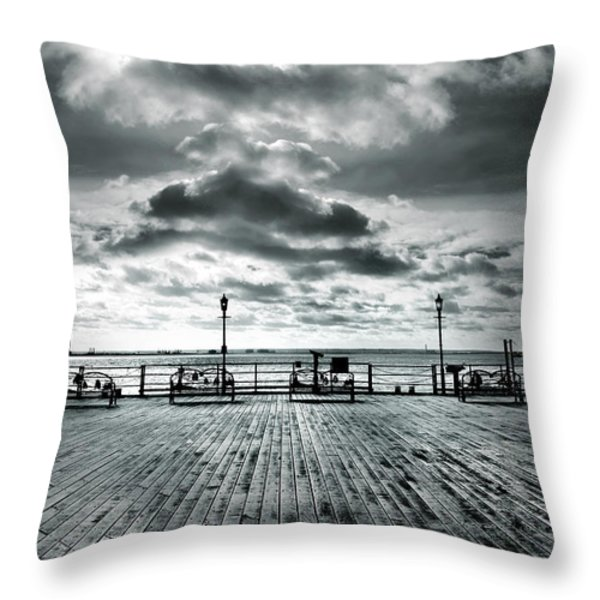 View Point on the Pier Throw Pillow by Mark Rogan