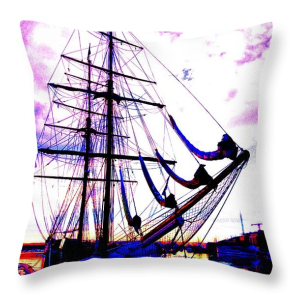Vikings Go Sailing Throw Pillow by Hilde Widerberg