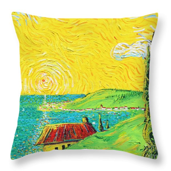 Village By The Sea Throw Pillow by Stefan Duncan